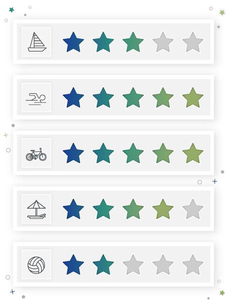 Umfrage Bewertung mit Sternen